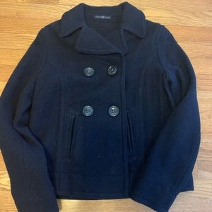 GAP NAVY CROPPED PEACOAT. Soft, boucle wool.